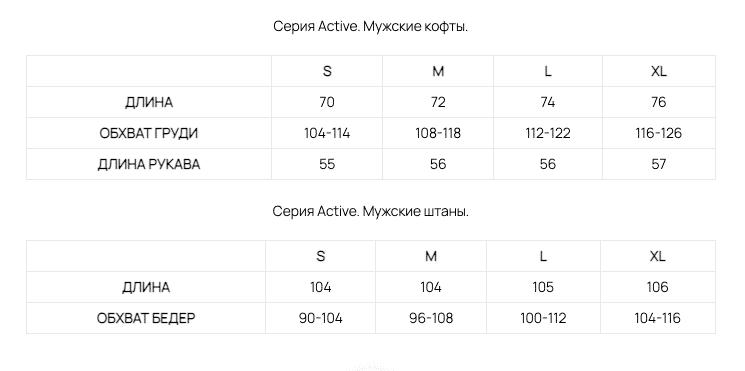 размеры мужского термобелья